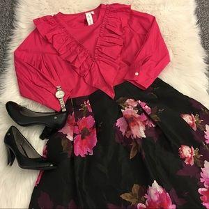 NWT - Floral midi skirt!